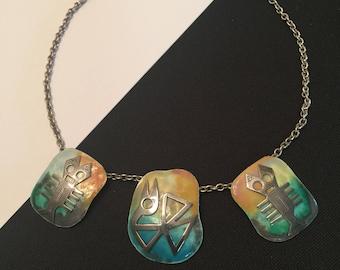 Fabulous Graziella Laffi Sterling Silver & Enamel Necklace PERU