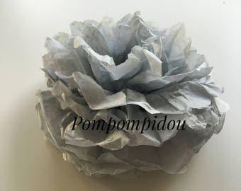Pack of 2 light gray color tissue paper tassels