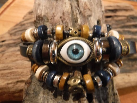 Hippy Leather Eye Bracelet Blue Eye Bracelet Tribal Leather Eye Bracelet Adjustable African Beach Leather Bracelet Hippy Bracelets surfers