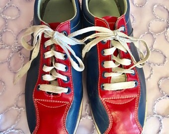 Vintage red white and blue bowling leather shoes / size women's 8.5 / free shipping