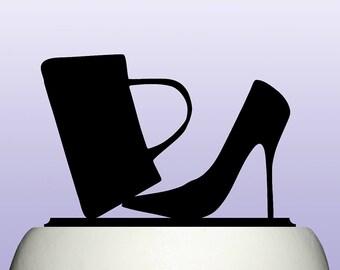 Acrylic Designer Handbag and Stiletto Shoe Fashion Cake Topper Keepsake Decoration
