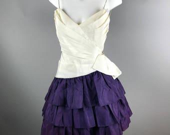 Vintage 1990s Tadashi Rhinestone Strap Prom Dress Size 6 Tiered Bow White Purple