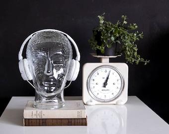 Vintage Glass Head, Headphone Holder, Portrait Sculpture, Head Statue, Preppy Decor, Retro Decor, Glass Sculpture, Man Cave, Hat Stand