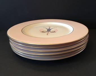Fine Arts Fine China ~ Royal Splendor ~ Medium Plates ~ Set of Six ~ Pink Rim ~ Feather and Crown Center ~ Vintage