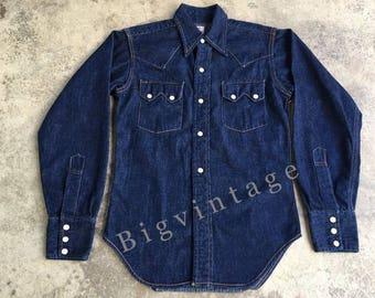 Vintage Levi's Denim Family Western Shirt Size.Small Dark 1-2 Wash Excellent Condition !!