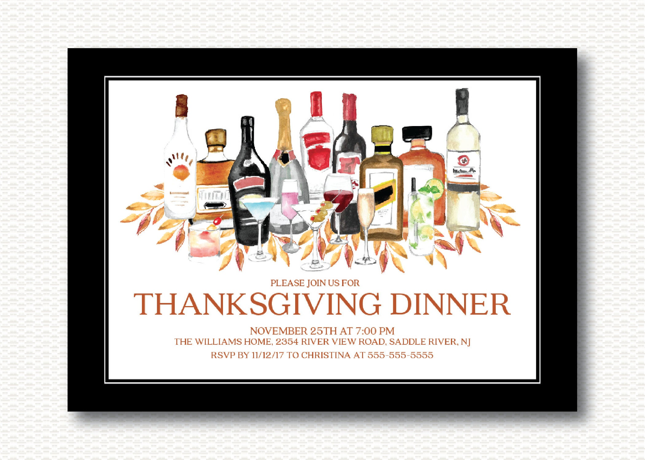 Thanksgiving Dinner Cocktail Party Invitation Adult Party
