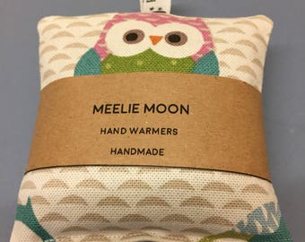 Microwaveable Owl Fabric Wheat Handwarmers. Re-useable, natural, eco-friendly. Made In Cornwall.
