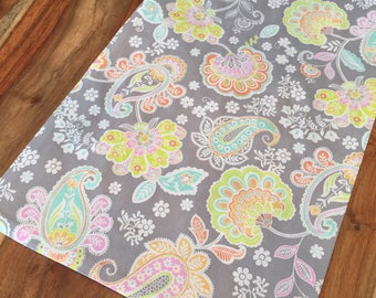 Spring Paisley Table Runner, in Grey, lime green, pink, orange, aqua