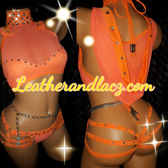 Sexy Neon Orange Hoodie Outfit with 3 Strap Thong and Crop Top Crystal Rhinestones Included any color. Exotic wear, Stripper Outfit Beads