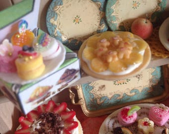 Dollhouse handmade miniature hutch,filled with cakes,doll food,one inch scale