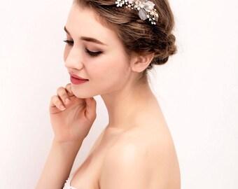 HA05 - Wedding Hair Accessories Hair Pins & Comb Gold Rhinestone Flower