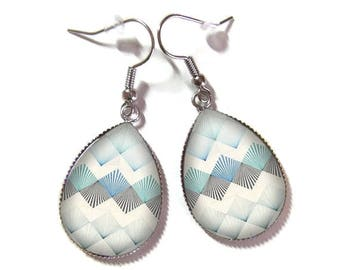 Drop earrings with glass cabochon 18 x 25 mm * geometric * (300517)