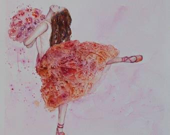 Ballerina painting, Ballerina Watercolor Painting, ballerina watercolor, custom nursery art, painting of ballerina, ballet wall art, Dance
