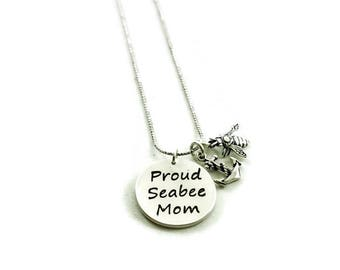 Proud Seabee Mom Necklace