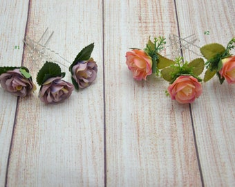 Flower hair pins Wedding hair pin Bridal hair pin Flower hair accessories Set of hair pins Flower girl hair pin Rose hair pin set