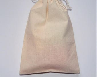 "10 Natural Cotton Bags * Cotton Favor Bags * Wedding Favors Bags * Gift Wrapping * 3""x 4"" (8cm x 10cm)"