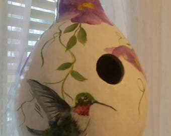 Gourd birdhouse handpainted hummingbird gourd..decorated with lavender flowers, vines and leaves