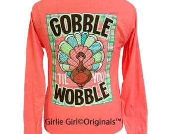 Girlie Girl Originals Gobble Long Sleeve Retro Heather Coral T-Shirt