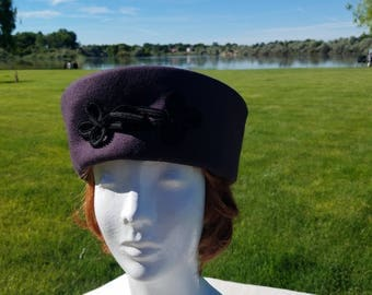 Heathered Plum Wool Pillbox Hat - Size L