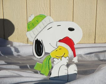 Peanuts Snoopy and Woodstock Winter Yard Sign