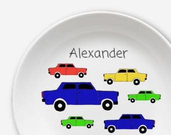 Children's plate car with name in great design from melamine