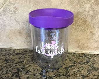 ON SALE wine tumblers - wine glass for bride - custom tumblers - bachelorette party tumblers - spill proof drinkware - custom float trip