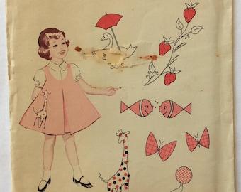 Singer Patterns set of 6 applique patterns for girls' dresses vintage 1960's