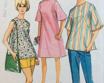 McCall's 8260 misses maternity dress or top and pants or shorts size 18 bust 38 vintage 1960's sewing pattern