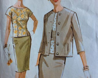 McCall's 6840 misses suit jacket, blouse & skirt size 14 bust 34 vintage 1960's sewing pattern