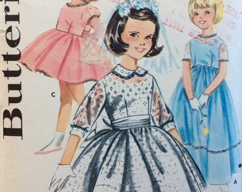 Butterick 2127 girls special occasion dress & slip size 6 vintage 1960's sewing pattern