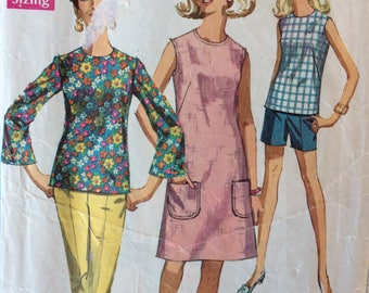 Simplicity 7599 misses dress or blouse & pants or shorts size 16 bust 38 Jiffy vintage 1960's sewing pattern