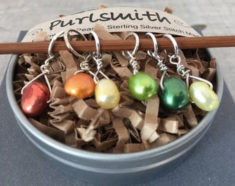 Veggie Mix Sterling Silver & Freshwater Pearl Stitch Markers for Knitting,Set of 6,Knitting Notions, Gift for Knitter