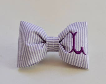 Monogram Seersucker Dog Bow Tie Lavender || Personalized Preppy Bowtie || Custom Gift by Three Spoiled Dogs