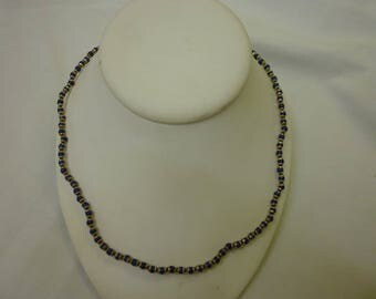 J25 Vintage Sterling Necklace with Blue Lapis Beads.