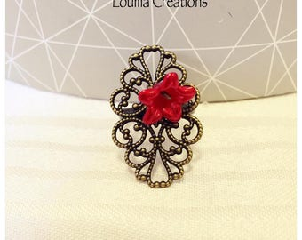 Red flower adjustable filigree ring