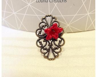 Red flower adjustable filigree ring