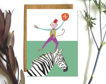 Children's Birthday Card, Age 4, The Monkey and The Zebra,  Happy Birthday Card,  Illustrated by Hutch Cassidy