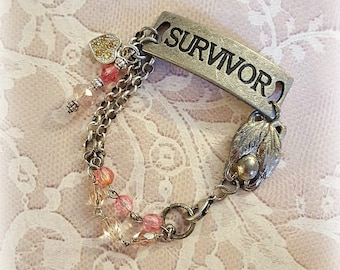 Survivor Gun Metal Bracelet, Pink Rosary Beads, Vintage Assemblage Bracelet, Silver Chains, Assemblage Jewelry, Repurposed Upcycled Jewelry