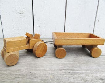 Handcrafted Wooden Tractor with Trailer, Wooden Truck Toy Car from Germany in the 70s, Pull Toy Set