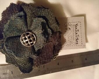Handmade tweed brooch