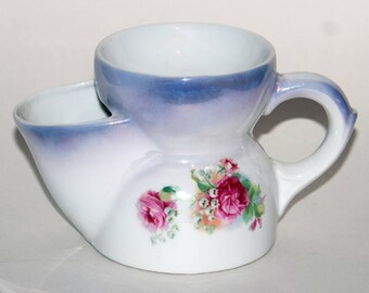 Victorian Era Coal Scuttle Style Shaving Mug with Floral Decoration — Free Shipping!