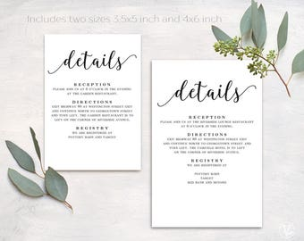 Wedding Details Card, Printable Details Card Template, Simple Details Card, D03