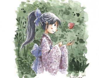Watercolor Series Painting - Yukata Girl