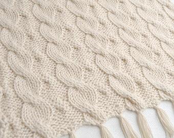 Cable Knit Blanket Baby Alpaca reversible hand knitted - Wool blanket white organic baby alpaca - Stroller Pram knitted blanket
