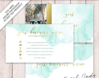 Photoshop Business Card Template - 3 Part Design - INSTANT DOWNLOAD - Layered .PSD Files - Design #1