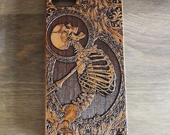Skeleton Phone Case, iPhone 8 Plus Case, Iphone X Case Wood, iPhone Case Personalized, Samsung Galaxy S6 S7 S8 S9 Plus Case, Cell Phone Case