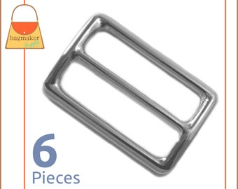 "1.5 Inch Slide for Purse Straps, Shiny Nickel Finish, 6 Pieces, Handbag Purse Bag Making Hardware Supplies, 1-1/2"", 1.5"", BKS-AA025"