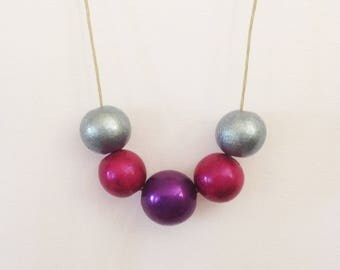 "Necklace ""tri-color"" metallic pink, purple, grey wood beads"
