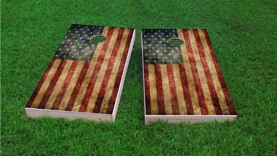 Worn American Flag Themed 2x4 Custom Cornhole Board Set With