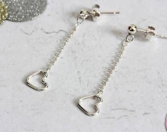Mini open heart chain drop silver earrings